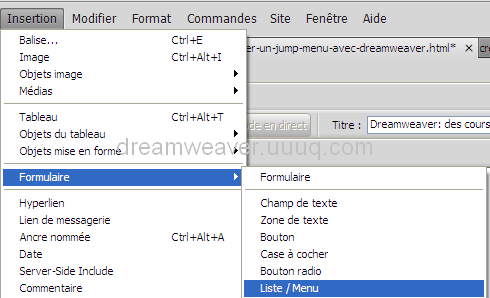 Insertion Menu/liste